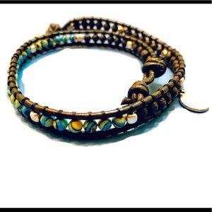 Malachite Double HeartWrap Bracelet
